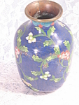 Vintage China Cloisenne Floral And Blue Vase