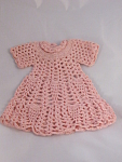 Vintage Hand Crocheted Doll Clothing Pink Dress