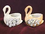 Pair Antique Elfinware Mossware Swan Salt Dips Germany