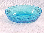 Vintage Ice Blue Buttons And Bows Oval Bowl