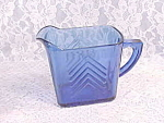 Hazel Atlas Depression Glass Cobalt Blue Chevron Creamer