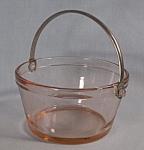 Elegant Glass Pink Depresson Glass Mini Ice Bucket Candy Dish
