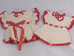 Vintage Hand Crocheted Boy Knickers Girls Dress Potholders