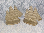 Vintage Set Of Bronze Art Sailing Ship Bookends