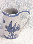 Vintage Mexico Mexican Pottery Blue Pitcher Bird & Butterfly