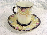 Beautiful Antique Flow Blue Demi-tasse Or Chocolate Cup Saucer