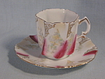 Antique Rs Prussia Cranberry Lt Green Demi Demi-tasse Cup Saucer