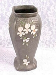 Antique Black Pottery Vase White Hand Painted Flowers