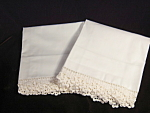 Vintage Hand Crocheted White Scalloped Lace Trim Pillowcases