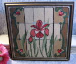 Vintage Needlepoint Red Rose And Orchid Framed Picture