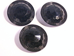 Jet Black Glass Antique Victorian Large Buttons