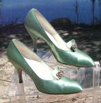 Vintage Mellon Green Satin Stilettoe Heel Shoes