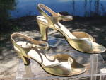 Vintage Gold Lame Summer Evening Sandals