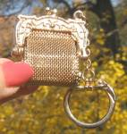 Vintage Art Nouveau Style Goldtone Mesh Coin Purse Key Chain