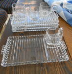 4 Candlewick Glass Snack Trays W/cups