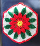 Christmas Poinsetta Pot Holder Crocheted 1990s