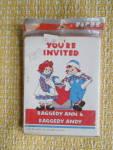 Raggedy Ann & Raggedy Andy Party Invitations, 1988