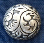 Silver Modern Foliage Designed Button Cover - Large