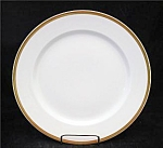 Gda Limoges France White Wide Gold Trim Lunch Plate's