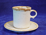 Mccoy Pottery Lite Brown Drip Cup & Saucer Sets 3 1/2