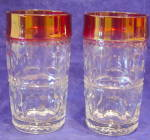 2 King's Crown Indiana Tiffin Ruby Red Flash Glasses