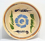 Mexican Redware Pottery Bowl Hand Thrown Painted 9 Inch