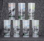 Steam Boat Glasses, Frosted, Total Of 7