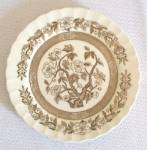 Brown Transferware Indian Tree Bread Plate