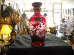 Ruby With Frosted Etching Decanter W/stopper