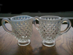 French Opalescent Hobnail Sugar & Creamer