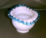 """Fenton Glass, Aqua Crest,4"""" Vase"""