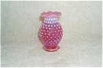Cranberry Opalescent Hobnail Mini Vase