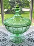 Fostoria Elegant Green Ftd. Cut/engraved Cov. Candy Box