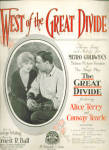 'west Of The Great Divide' Metro Goldwyn Sheet Music