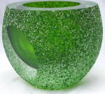 Thick Heavy Sommerso Green Glass Bowl Or Votive , Frosted Texture