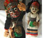 Marionet Puppet, With Dual Masked Faces, Folk Art,