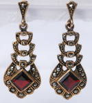 Vermeil Gold, 925 Sterling Garnet Earrings With Marcasites