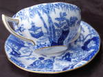 Royal Crown Derby Blue Mikado Cream Soup Bowl With Saucer