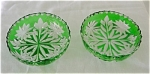 Pair Of Green Cut To Clear Mint Dishes