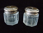 Pair Cut Glass Rouge Boxes