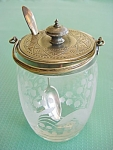 Etched Glass Jam Jar