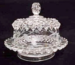 Beautiful Clear Pressed Glass Footed Butter Dish