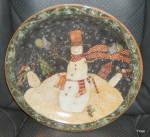 Certified International Folk Snowman Dinner Plate