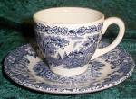 English Ironstone Kingswood Blue Demitasse Cup & Saucer