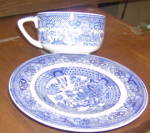 Royal Usa Blue Willow Cup & Saucer - Flat