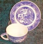 Royal Usa Willow Ware Cup & Saucer - Flat