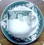 Tienshan Magnolia Belle Green Cup & Saucer - Flat