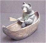 Whimsical Black Bear In Canoe