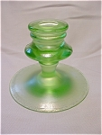 Fenton Green Stretch Glass Candlestick