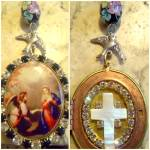 Vintage Archangel St. Gabriel Virgin Mother Mary Shrine Pendant